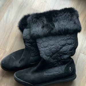 Black with faux fur boots